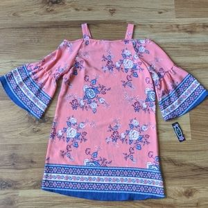 NWT Pink Floral Cold-Shoulder Dress